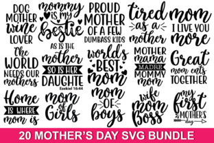 Print on Demand: 20 Mother's Day Quotes Bundle Graphic Print Templates By Designartstore