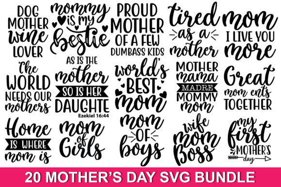 Print on Demand: 20 Mother's Day Quotes Bundle Graphic Print Templates By svgbundle.net