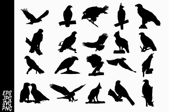 Print on Demand: 20 Silhouette Eagle Vector Bundle Graphic Crafts By Arief Sapta Adjie