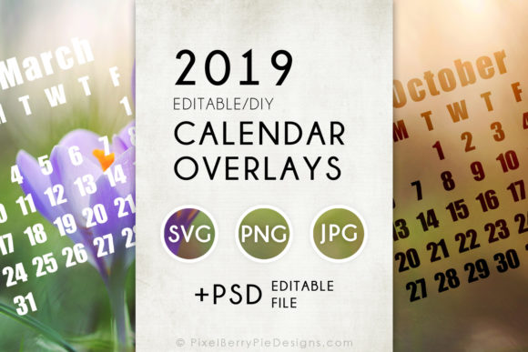 Print on Demand: 2019 Calendar Overlay Templates PSD Graphic Print Templates By Pixel Berry Pie Designs
