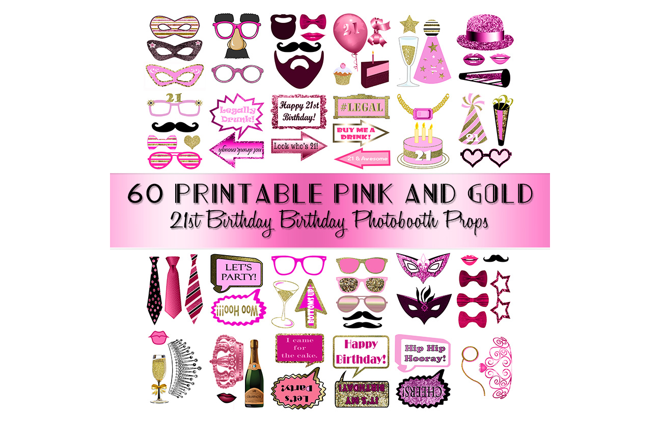 Download Free 21st Birthday Photo Booth Props Pink Graphic By for Cricut Explore, Silhouette and other cutting machines.