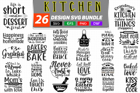 26 Kitchen Bundle Graphic Crafts By Handmade studio