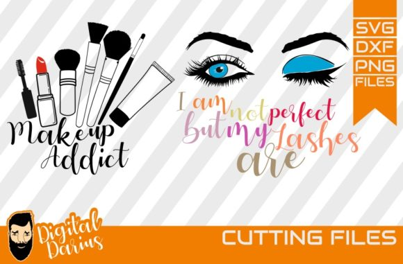 Download Free 2x Make Up Addict Svg Mascara Svg Lips Graphic By for Cricut Explore, Silhouette and other cutting machines.