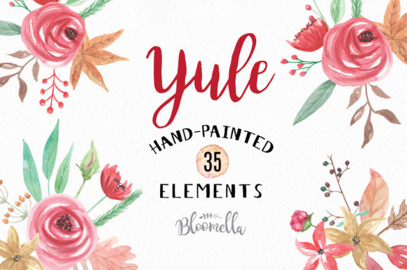 35 Watercolour Yule Winter Clipart Elements Graphic Illustrations By Bloomella