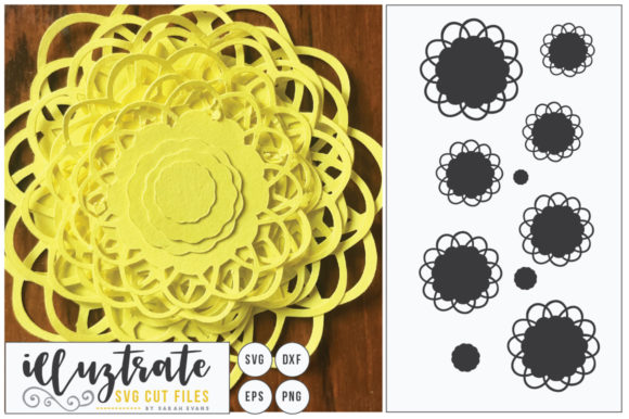 Download Free 3d Flower Diy Layered Flower 1 Graphic By Illuztrate Creative for Cricut Explore, Silhouette and other cutting machines.