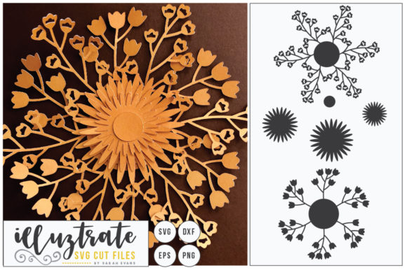 Download Free 3d Flower Diy Layered Flower 4 Graphic By Illuztrate Creative for Cricut Explore, Silhouette and other cutting machines.