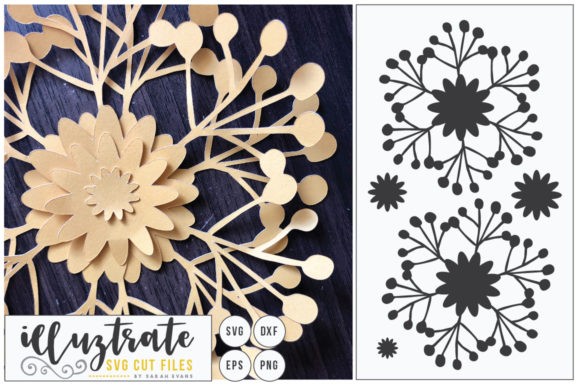 Print on Demand: 3D Flower, DIY Layered Flower 5 Graphic 3D Flowers By illuztrate