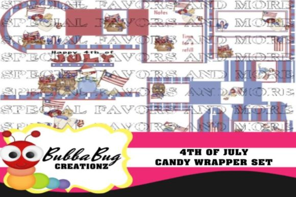 4th of July Candy Wrapper Set Graphic Crafts By BUBBABUG