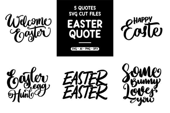 Print on Demand: 5 Easter Quotes Graphic Crafts By goodjavastudio