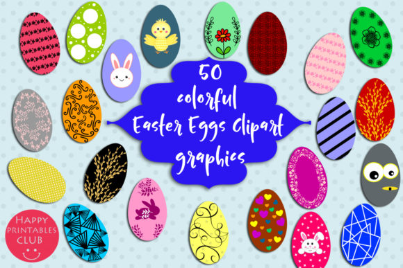 Download Free 50 Colorful Easter Eggs Clipart Easter Graphic By Happy for Cricut Explore, Silhouette and other cutting machines.