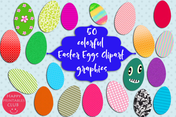 Print on Demand: 50 Colorful Easter Eggs Clipart-Easter Graphic Illustrations By Happy Printables Club