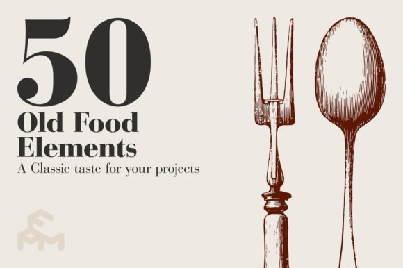 Print on Demand: 50 Old Food Elements Graphic Illustrations By pfmartini