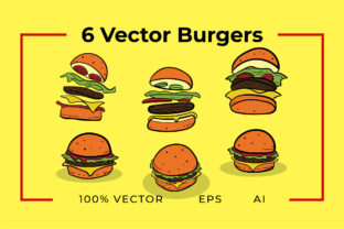 Print on Demand: 6 Burger Vectors Graphic Objects By yantodesign