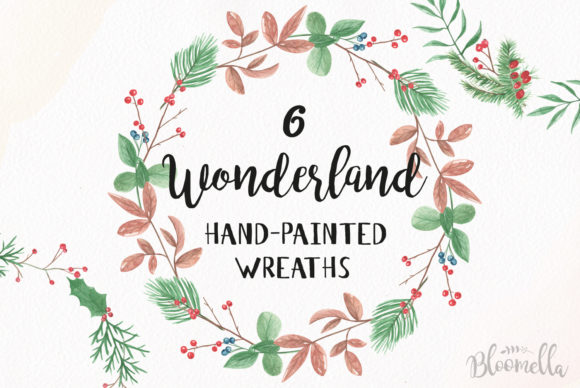 6 Watercolour Wonderland Winter Wreaths Clipart Graphic By Bloomella