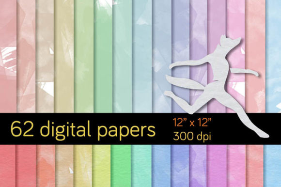 Print on Demand: 62 Watercolor Backgrounds. Graphic Backgrounds By Milaski