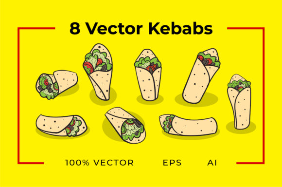 8 Kebab Vector Graphic Illustrations By yantodesign