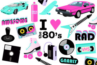 Download Free 80s Party Clipart Graphic By Mine Eyes Design Creative Fabrica for Cricut Explore, Silhouette and other cutting machines.