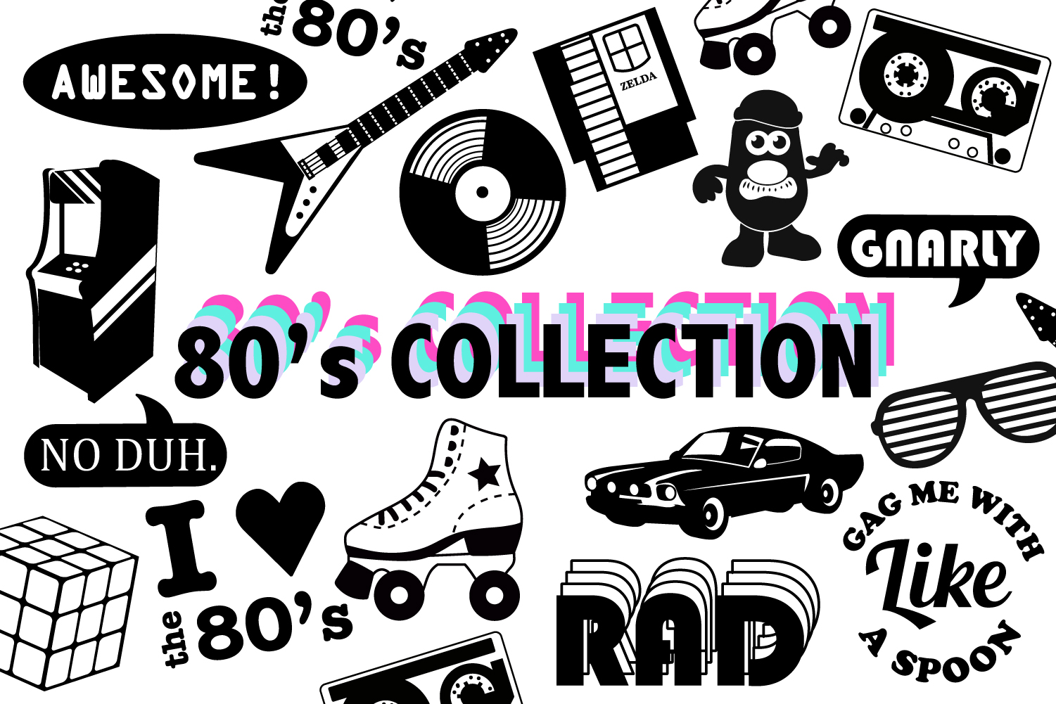 Download Free 80 S Collection Graphic By Mine Eyes Design Creative Fabrica for Cricut Explore, Silhouette and other cutting machines.