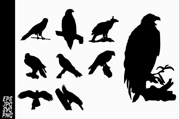 Print on Demand: 9 Silhouette Eagle Vector Bundle Graphic Crafts By Arief Sapta Adjie II