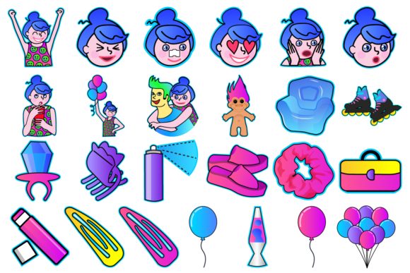 Print on Demand: 90's Girl Clipart Graphic Illustrations By Mine Eyes Design - Image 2