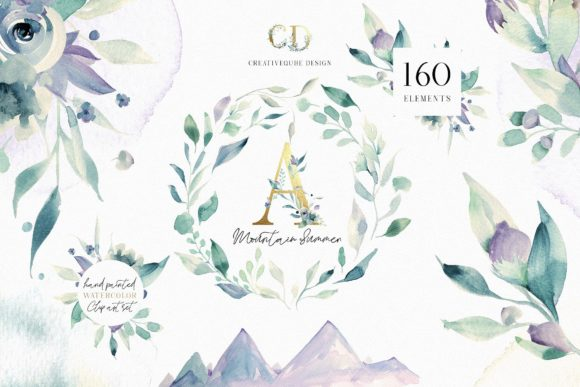 A Mountain Summer Watercolor Set Graphic By Creativeqube Design