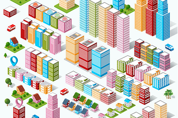 Print on Demand: A Large Set of Isometric Urban Objects Graphic Objects By AlexZel
