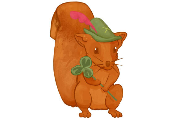 Print on Demand: A Squirrel with a Green Hat and a Clover - Fairy Forest Clipart Graphic Illustrations By Milaski