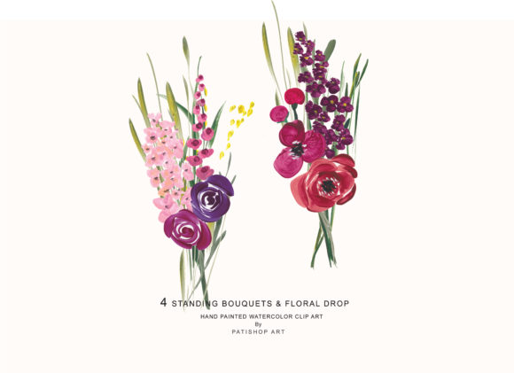 Acrylic Colorful Flowers Graphic Illustrations By Patishop Art - Image 3