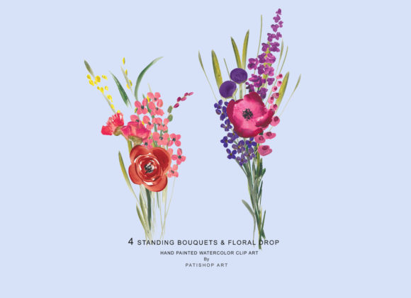 Acrylic Colorful Flowers Graphic Illustrations By Patishop Art - Image 4