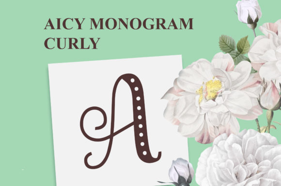 Print on Demand: Aicy Monogram Curly Display Font By Typefar