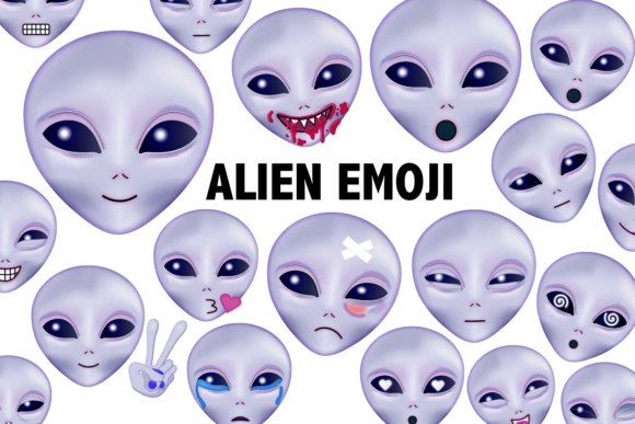 Print on Demand: Alien Emoji Clipart Graphic Illustrations By Mine Eyes Design