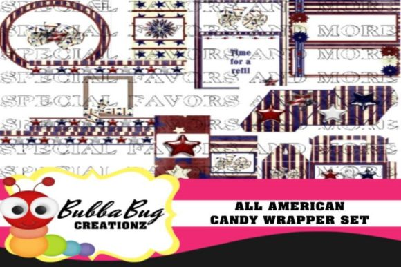 All American Candy Wrapper Set Graphic Crafts By BUBBABUG