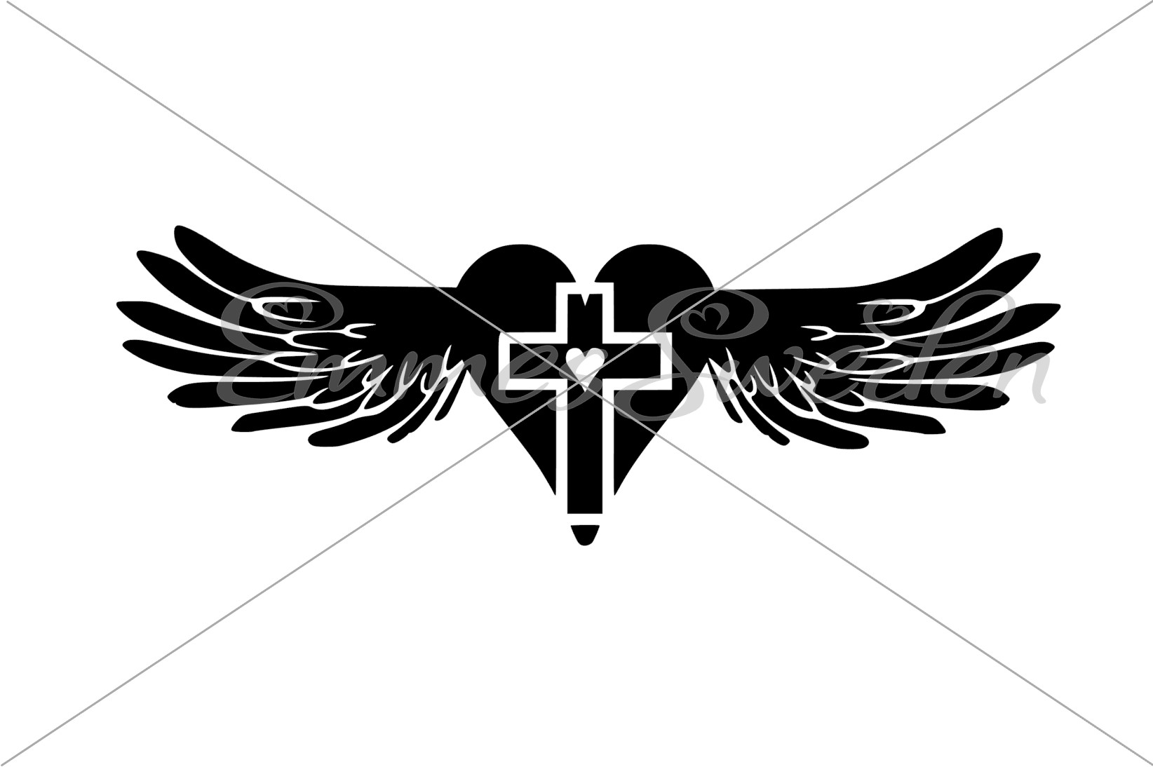 Download Free Angel Wings Cross Graphic By Emmessweden Creative Fabrica for Cricut Explore, Silhouette and other cutting machines.
