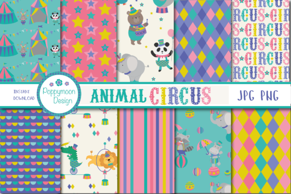 Print on Demand: Animal Circus Paper Graphic Patterns By poppymoondesign