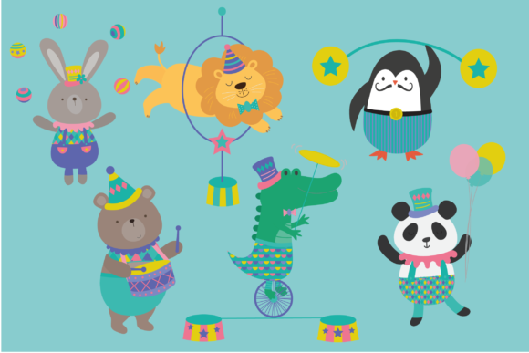 Download Free Animal Circus Graphic By Poppymoondesign Creative Fabrica for Cricut Explore, Silhouette and other cutting machines.