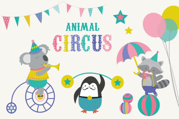 Print on Demand: Animal Circus Graphic Illustrations By poppymoondesign