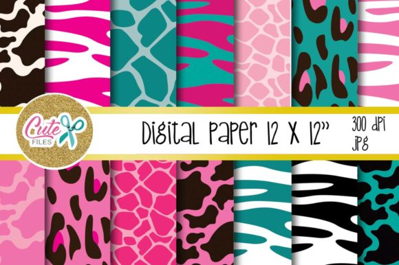 Animal Print Pink and Teal, Digital Paper for Scrapbooking Graphic Textures By Cute files
