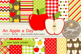 Apple Digital Papers and Clipart Graphic By jennyL_designs