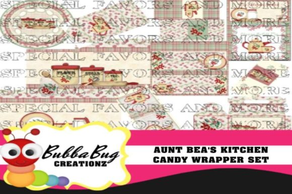 Aunt Bea's Kitchen Candy Wrapper Set Graphic Crafts By BUBBABUG