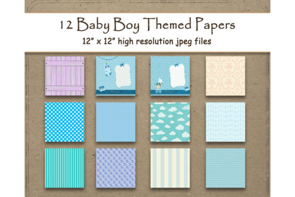 Download Free Baby Boy Digital Paper 12 X 12 Texture Graphic By for Cricut Explore, Silhouette and other cutting machines.