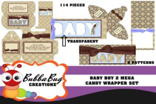 Baby Boy Mega Candy Wrapper Set 2 Graphic 3D Pillow Box By BUBBABUG