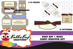 Baby Boy Mega Candy Wrapper Set Graphic 3D Pillow Box By BUBBABUG