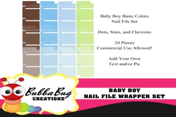 Baby Boy Nail File Candy Wrapper Set Graphic Crafts By BUBBABUG - Image 1
