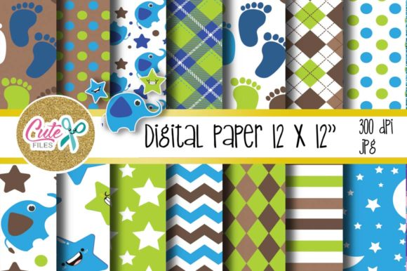 Baby Boy Paper, Polka and Chevron Graphic Textures By Cute files