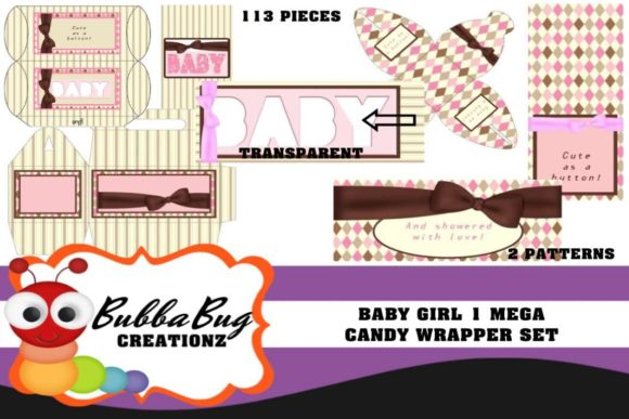 Baby Girl 1 Mega Candy Wrapper Set Graphic Crafts By BUBBABUG