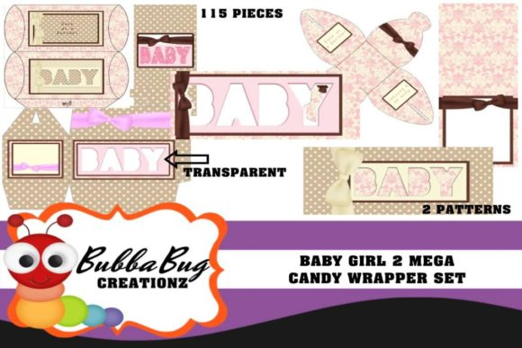 Baby Girl 2 Mega Candy Wrapper Set Graphic 3D Pillow Box By BUBBABUG