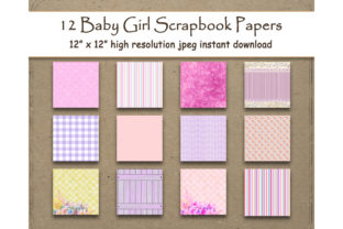 Download Free Baby Girl Digital Paper 12 X 12 Pink Graphic By for Cricut Explore, Silhouette and other cutting machines.