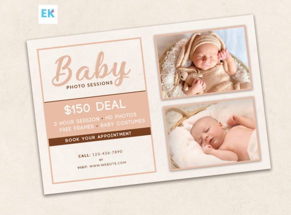 Download Free Baby Photography Flyer Template 4x6 Graphic By Epickita for Cricut Explore, Silhouette and other cutting machines.