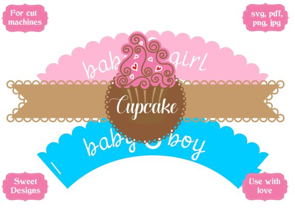 Download Free Baby Shower Cupcake Wrapper Pack Graphic By Jgalluccio for Cricut Explore, Silhouette and other cutting machines.
