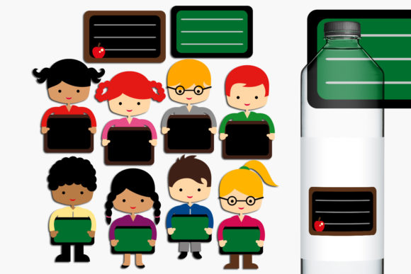 Print on Demand: Back to School Students and Chalboards Graphic Illustrations By Revidevi